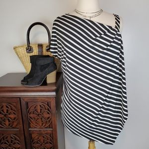 Lane Bryant Black White Stripe Cold Shoulder 18/20